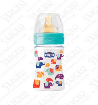 BIBERON CAUCHO FLUJO NORMAL CHICCO ELEFANTES 150 ML