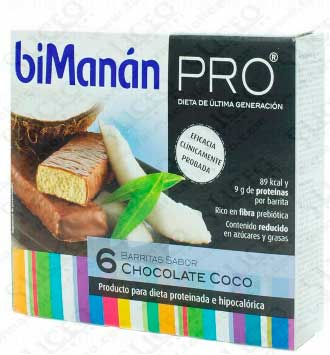 BIMANAN PRO BARRITA CHOCOLATE Y COCO 6 BARRITAS