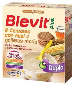 BLEVIT PLUS DUPLO 8 CEREALES CON MIEL Y GALLETA MARIA 600 GR