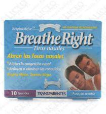 BREATHE RIGHT TIRA NASAL TRANSP T- GDE 10 U