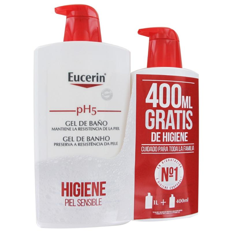 EUCERIN PIEL SENSIBLE PH-5 GEL DE BAÑO 1 LITRO + 400 ML REGALO