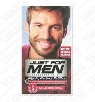 JUST FOR MEN BIGOTE Y BARBA GEL COLORANTE CASTAÑO OSCURO NATURAL