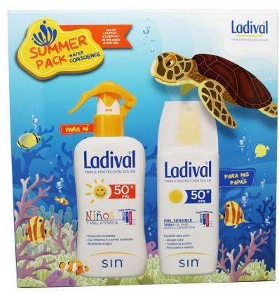 LADIVAL SUMMER PACK  (SPRAY NIÑOS DE 200ML + SPRAY PIEL SENSIBLE ADULTO 150ML)