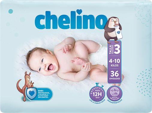 PAÑAL INFANTIL CHELINO T- 3 (4 -10 kg) 36 UNIDADES
